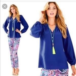 Lilly Pulitzer Elsa Top Bomber Blue Blouse Small